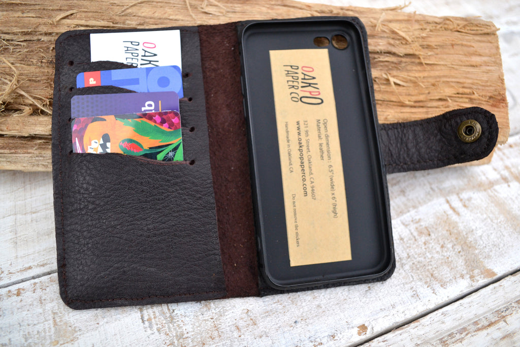 Brown leather iPhone 8 / 7 wallet case - OakPo Paper Co.