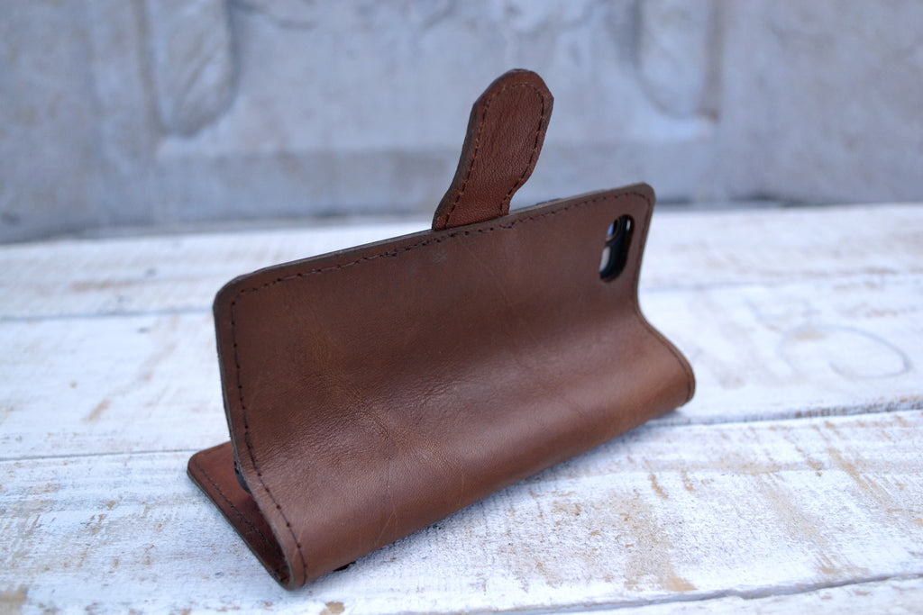 Leather Phone wallet case, iPhone 8 / 7 wallet case - OakPo Paper Co.