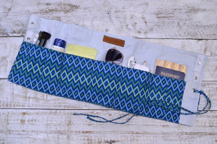 Purse organizer roll, Travel organizer wrap, Personalized organizer roll. - OakPo Paper Co.