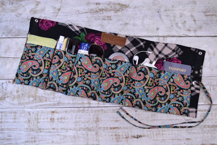 Purse organizer roll, Travel organizer wrap, Personalized organizer roll - OakPo Paper Co.