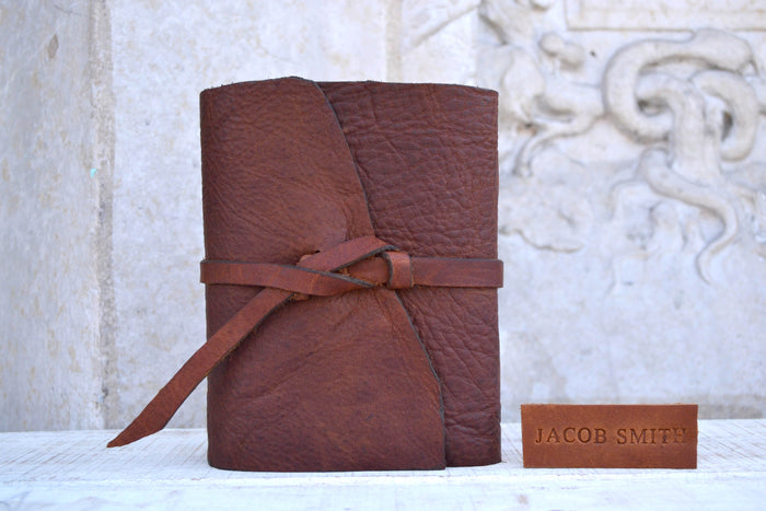 Mahogany Leather Journal, Hand-Marbled Cover Notebook, Personalized Journal - OakPo Paper Co.