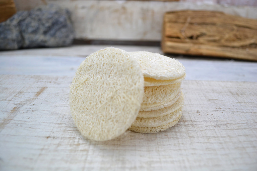 Set of 4 -Natural Loofah Face Cleanser Pads - OakPo Paper Co.