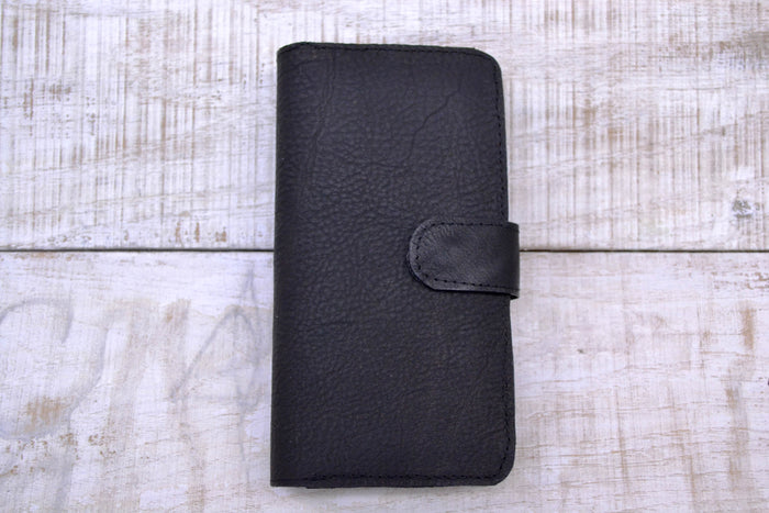 Black leather iPhone 8 plus / 7 plus wallet case - OakPo Paper Co.