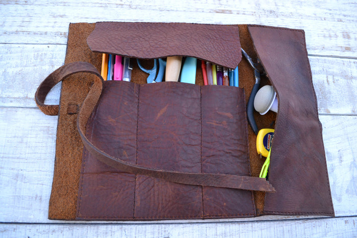 leather tool roll case - OakPo Paper Co.