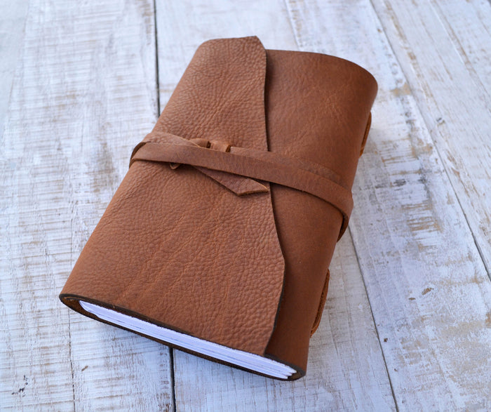 5.5x8.75 Leather Journal, Personalized Journal - OakPo Paper Co.