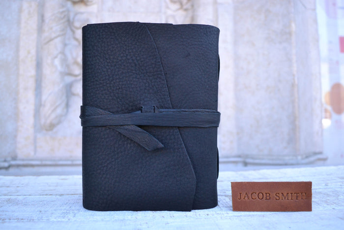 Black Distressed Leather Notebook. - OakPo Paper Co.