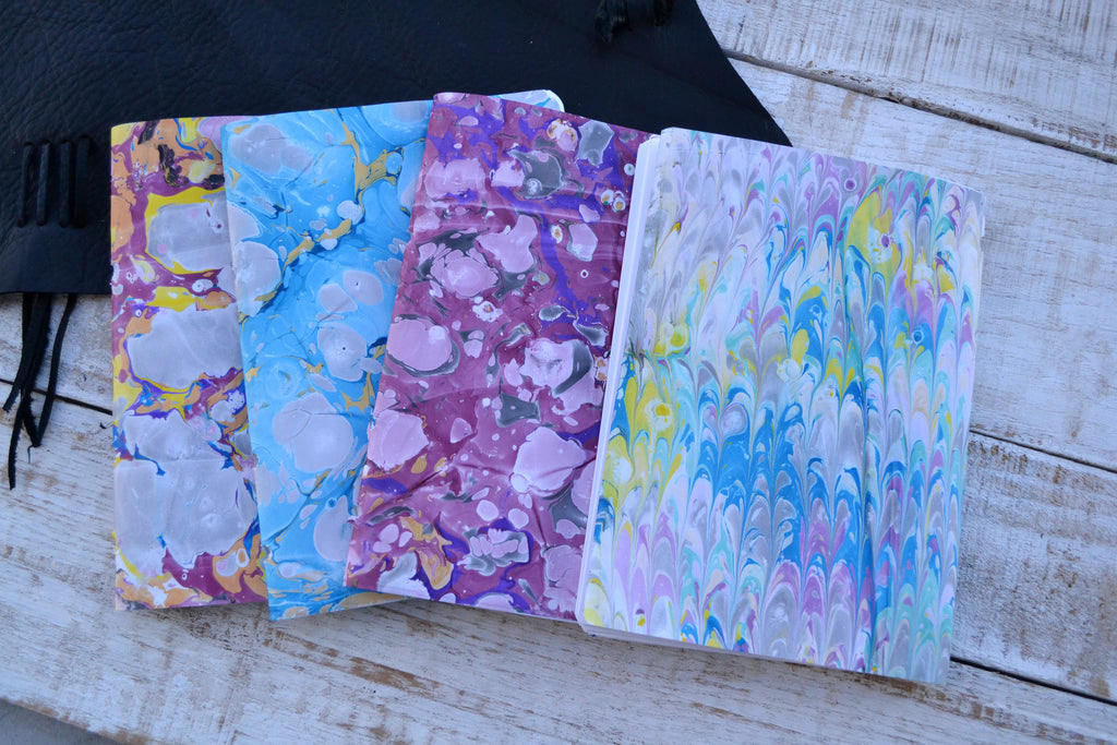5.5x7.75 leather journal, 4 hand-marbled cover inserts. Refillable journal, Personalized notebook - OakPo Paper Co.