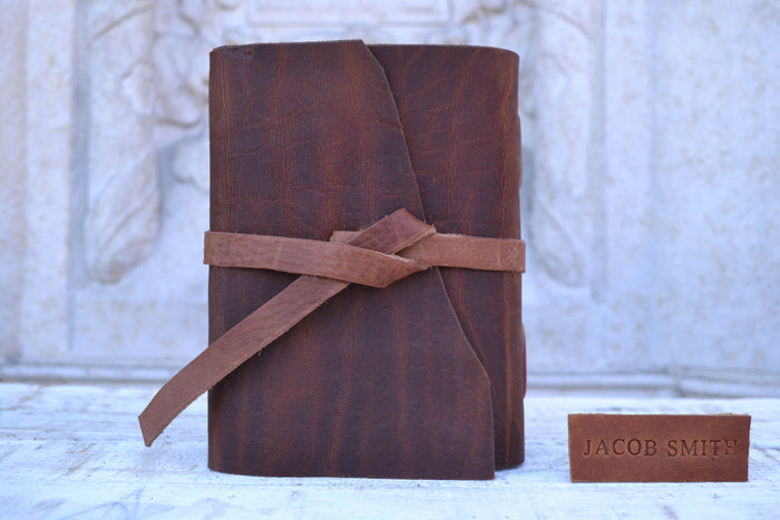 Travel notebook, Refillable notebook, Mahogany leather notebook - OakPo Paper Co.