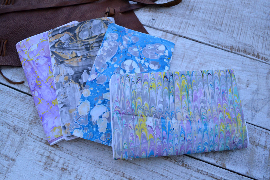 5.5x8.75 Leather Journal, 4 Hand-marbled Journal, Personalized Journal, Refillable Notebooks - OakPo Paper Co.