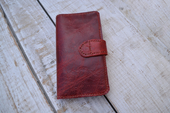 Leather iPhone XR wallet case, iPhone case - OakPo Paper Co.