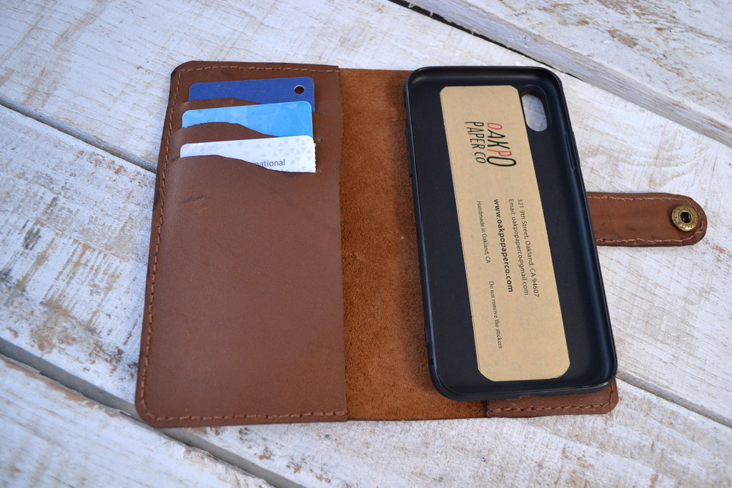 leather iPhone X / XS wallet case, iPhone case - OakPo Paper Co.
