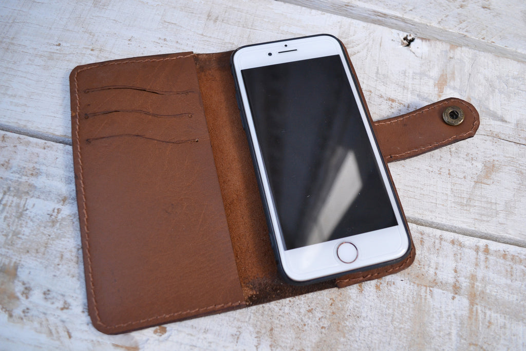 Leather iPhone 8 wallet case - OakPo Paper Co.