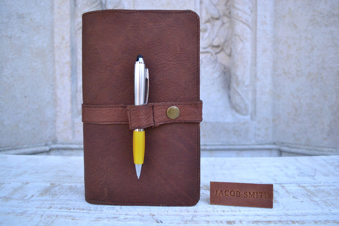 5.75''x9'' Leather Pocket Journal, Hand-stitching blank notebook and one book mark, Personalized Leather Journal - OakPo Paper Co.