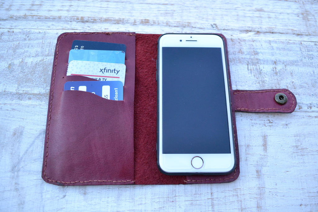 Leather iPhone 8/7 wallet case - OakPo Paper Co.