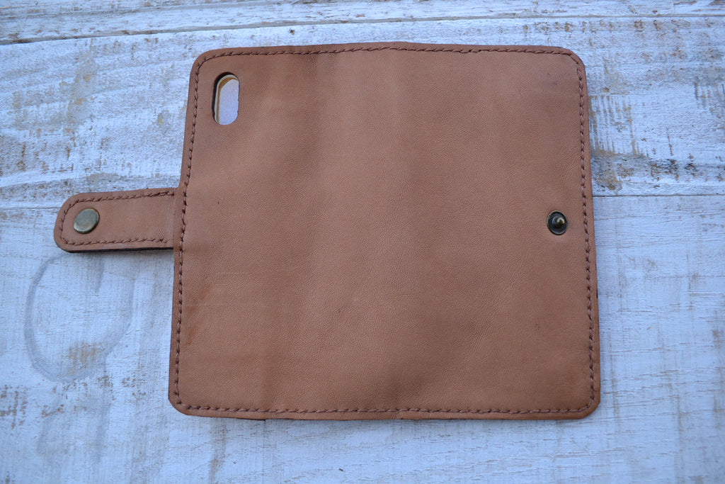 Sheep Leather iPhone X/XS wallet case - OakPo Paper Co.