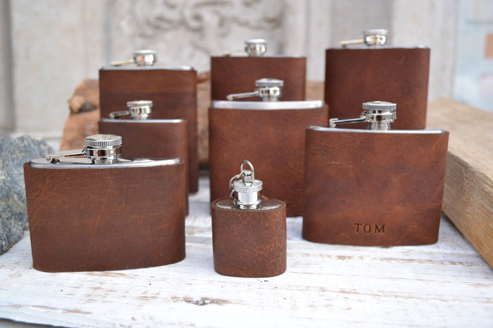 Hip Flask personalized, Leather flask, personalized flask. - OakPo Paper Co.