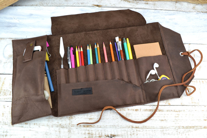 Artist Roll, Leather Pencil Roll, Personalized Pencil Roll - OakPo Paper Co.