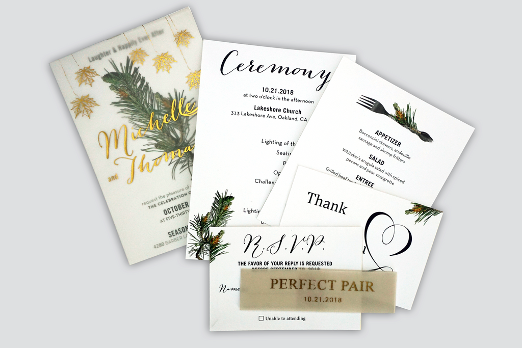 Gold Foil Pine Wedding Invitation Card - #8