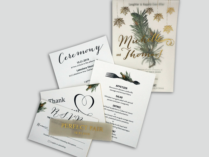 Gold Foil Pine Wedding Invitation Card - #8 - OakPo Paper Co.