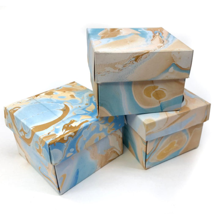 10 Marbled Gift Box with Lid - 3.45''x 3.45''x 2.75'' - OakPo Paper Co.