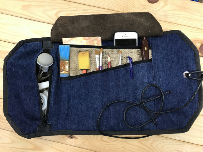 Denim Artist Roll with Zipper Pouch - OakPo Paper Co.