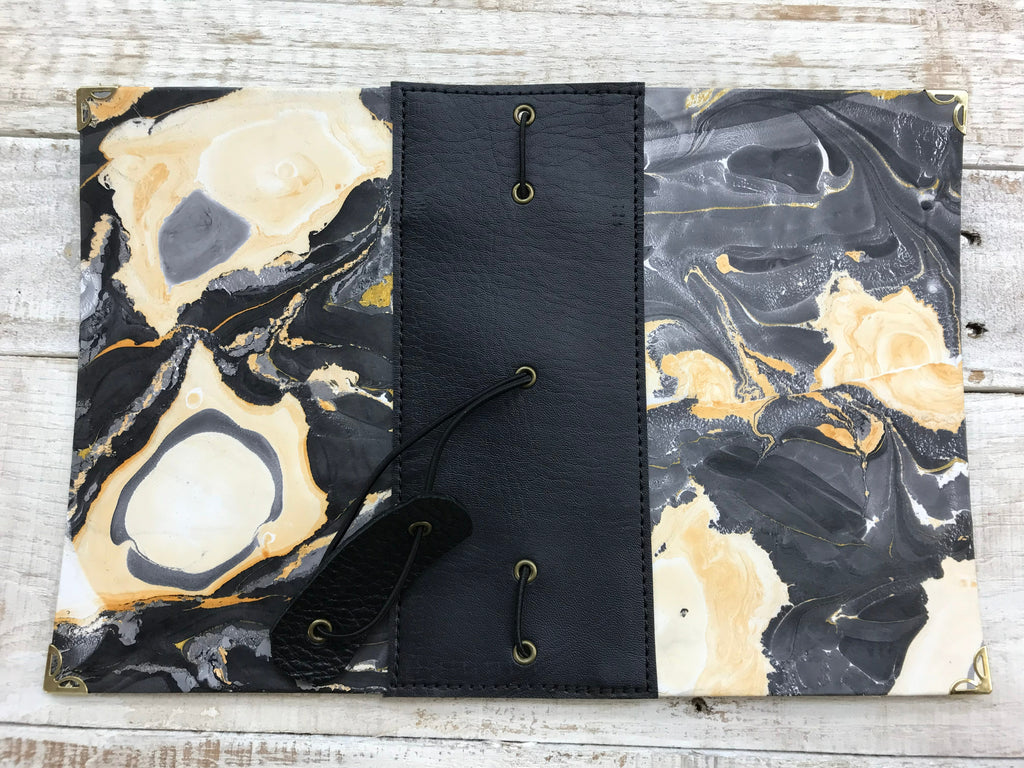 Hand Marbled Traveler's notebook with 3 refillable notebooks - OakPo Paper Co.