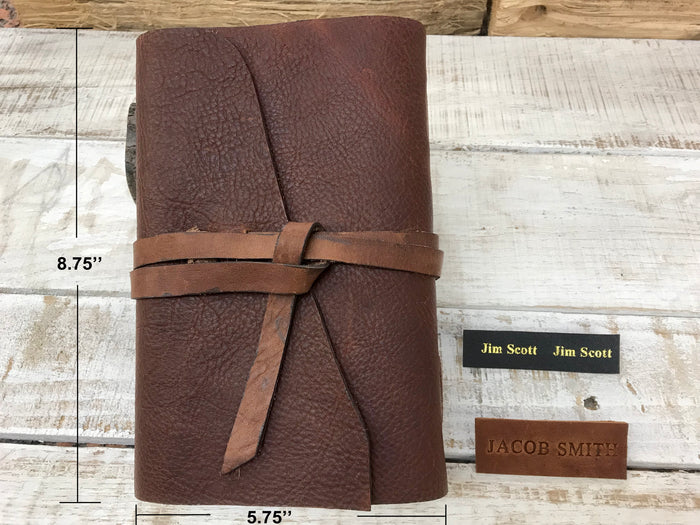 Recycled Handmade Soft Brown Leather Journal - OakPo Paper Co.