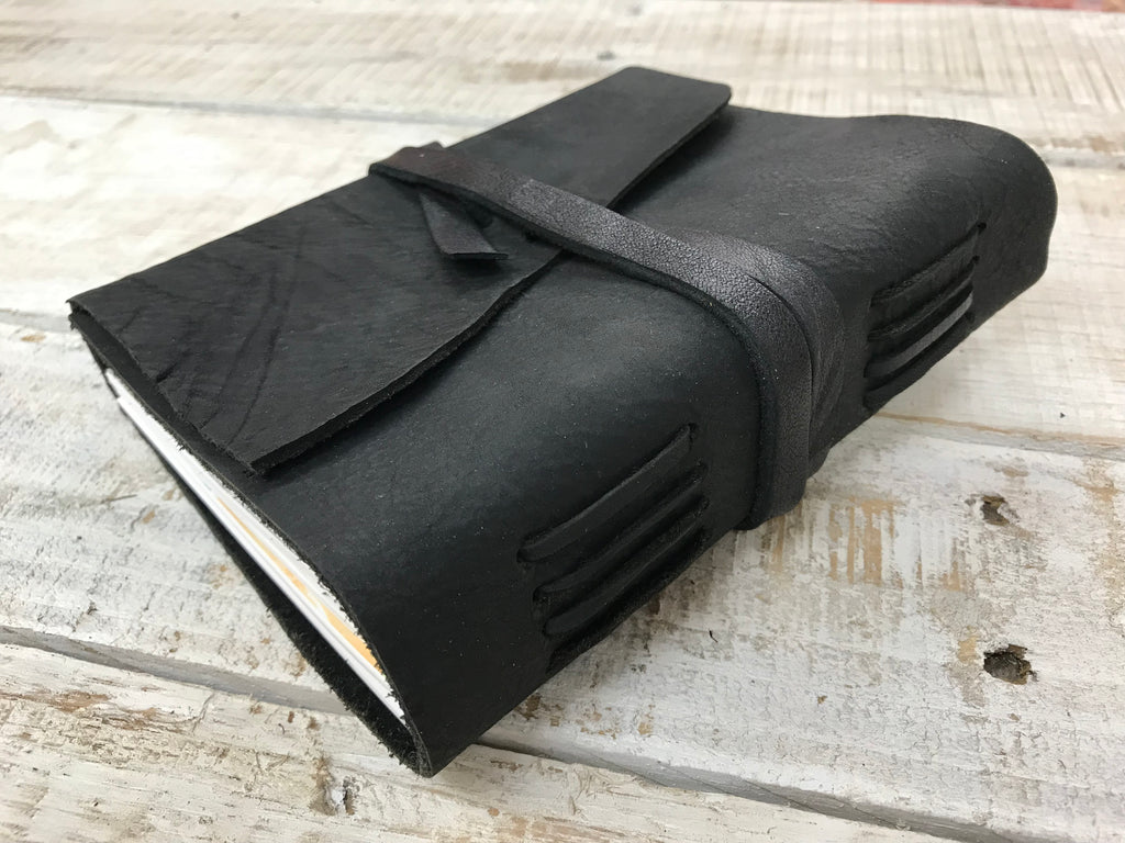 5x6.5 Handmade Black Leather Journal - OakPo Paper Co.
