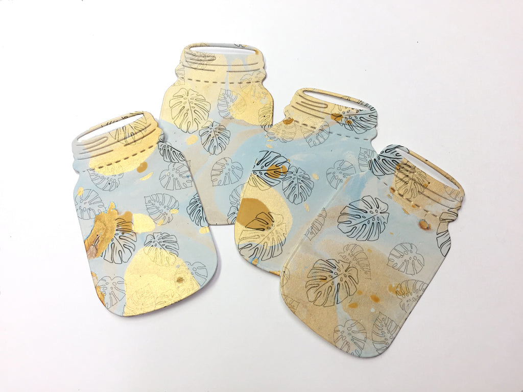 Mason Jar Gift Tags - Hand marbled blue and gold with twine - OakPo Paper Co.