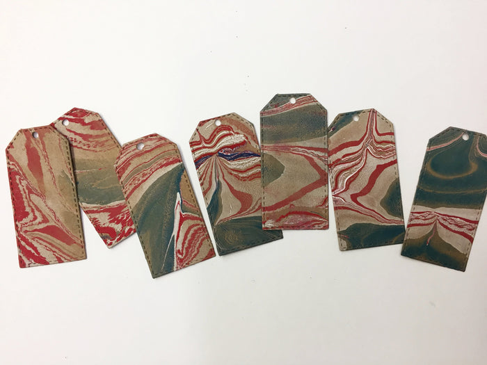 Marbled Gift Tags Red, Green, White - OakPo Paper Co.