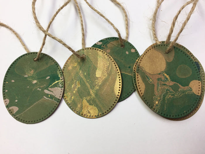 Gold & Green Oval Hand Marbled Gift Tag Kit - OakPo Paper Co.