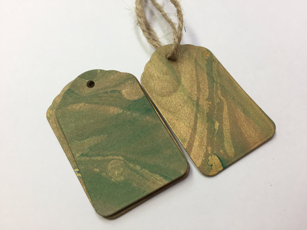 Gold & Green Scallop Top Marbled Gift Tags - OakPo Paper Co.