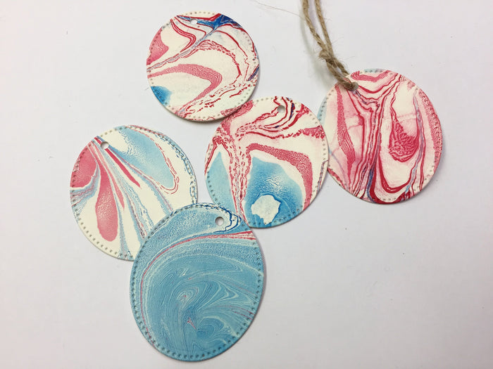 Red White & Blue Oval Gift Tags With Twine - OakPo Paper Co.