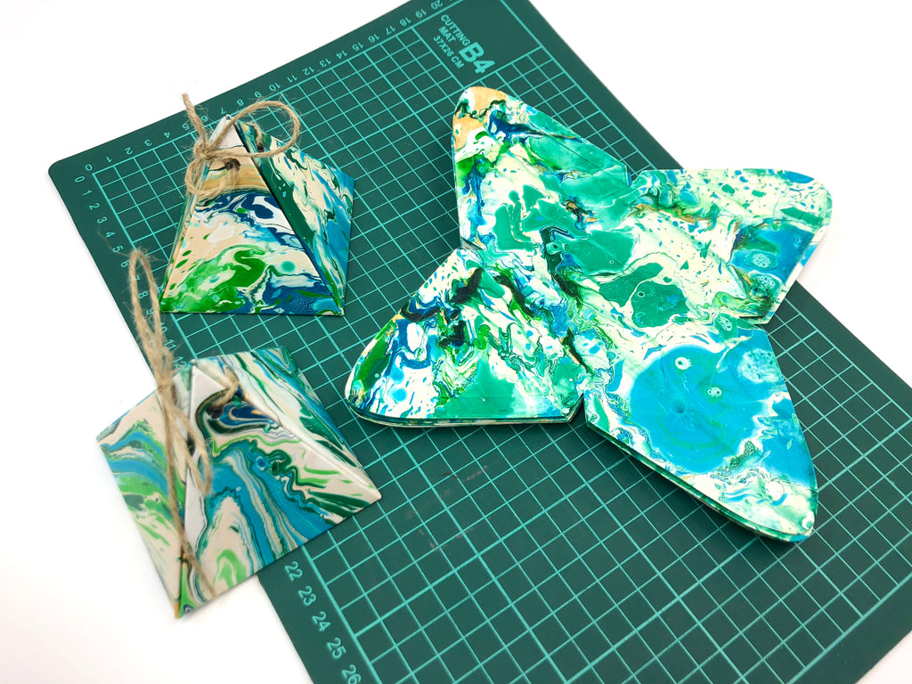 10 boxes--3.5''x3.25''x3'' Marbled Pyramid gift boxes - OakPo Paper Co.