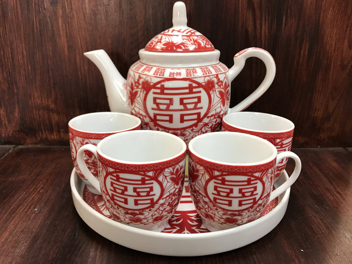 Flower double happiness tea set