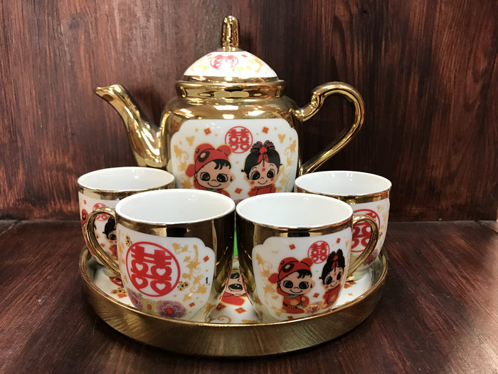 Golden color tea set - OakPo Paper Co.