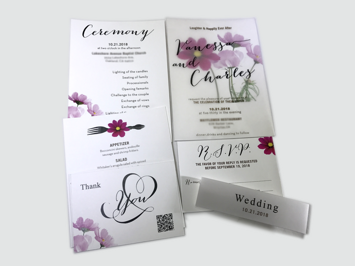 Cosmos Flower Wedding Invitation Card - #14 - OakPo Paper Co.