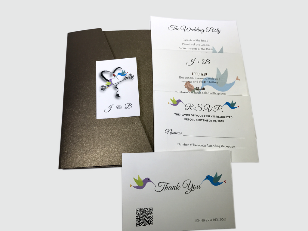 Hummingbird Wedding Invitation Card # 5B - OakPo Paper Co.