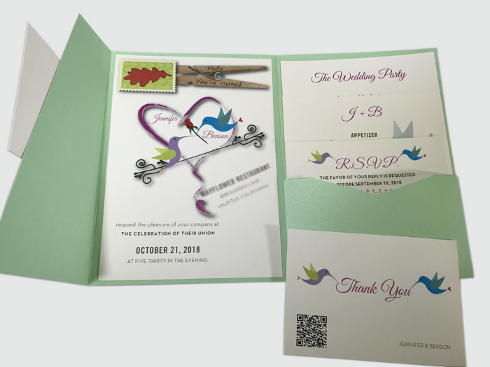 Hummingbird Wedding Invitation Card # 5A - OakPo Paper Co.