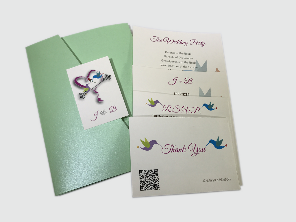Hummingbird Wedding Invitation Card # 5A