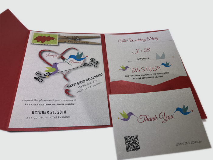 Hummingbird Wedding Invitation Card # 5C - OakPo Paper Co.