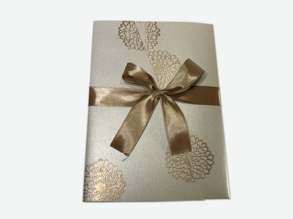 Goldern Pattern Flower Wedding Invitation Card - # B9 - OakPo Paper Co.