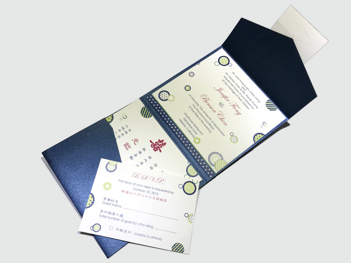Blue Dot Wedding Invitation Card # A6 - OakPo Paper Co.