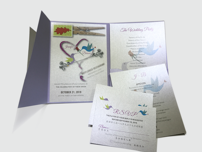 Hummingbird Wedding Invitation Card # 5 - OakPo Paper Co.