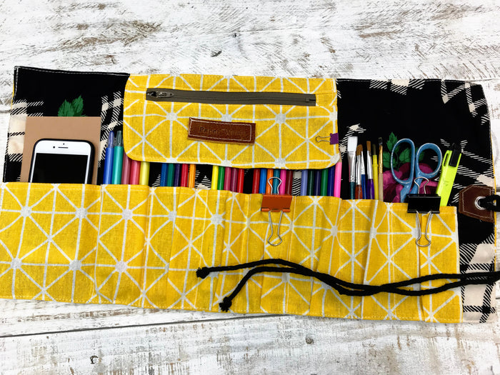 Yellow Personalized Pencil Roll, Pencil Roll Case