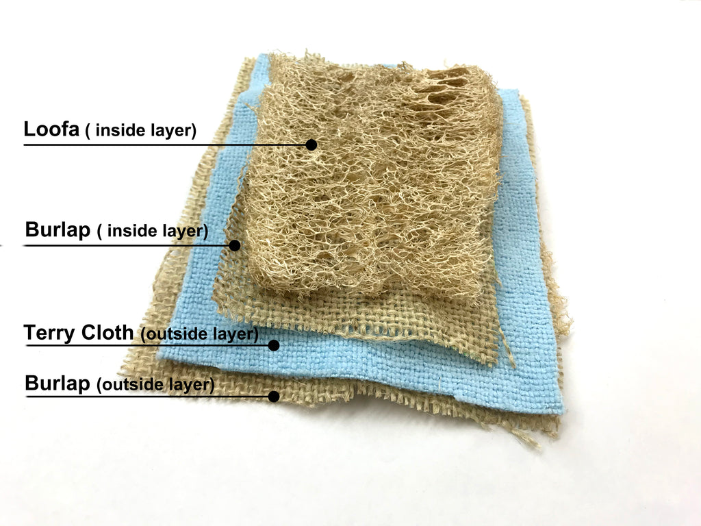 Reusable Kitchen Scrubber, Loofah Gourd/ Burlap /Terry Cloth, Zero Waste Sponge