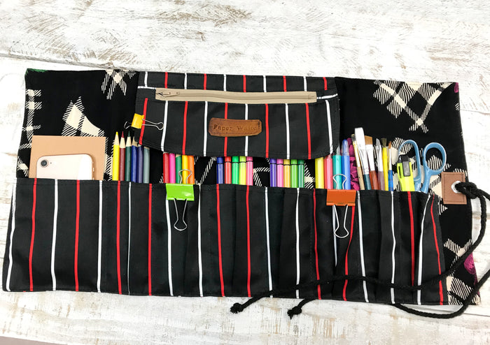 Striped Fabric Pencil Roll, Personalized Artist Pencil Roll