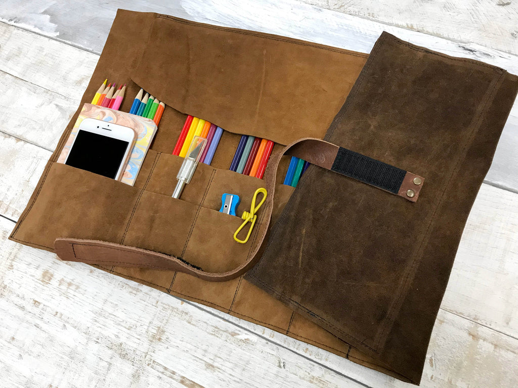 Leather Artist Roll with Zipper Pouch, Personalized Leather Pencil Roll