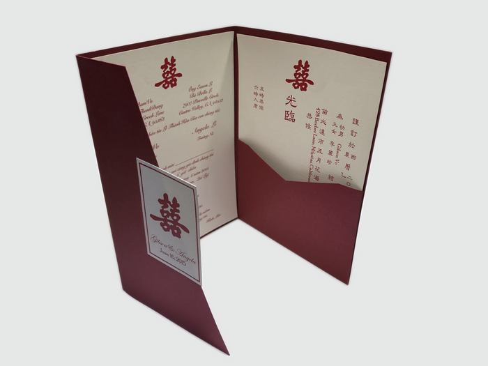 Double Happiness Wedding Invitation Card -  # C (04) - OakPo Paper Co.