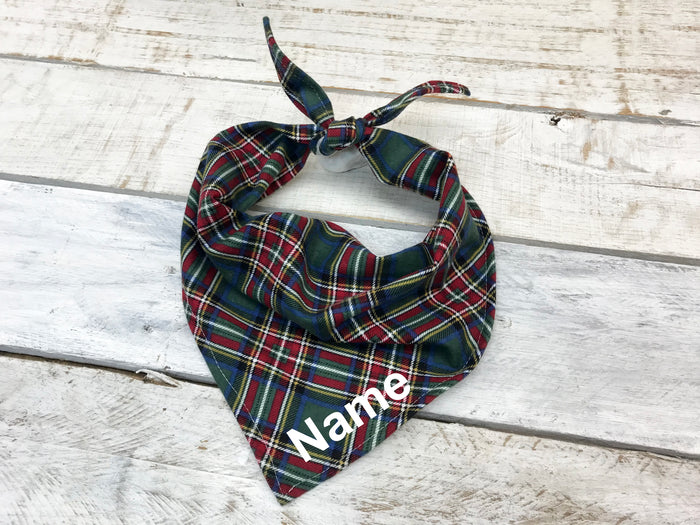 Green Tartan Plaid Dog Bandana, Personalized Dog Bandana